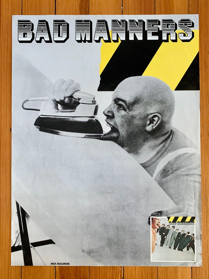 Authentic Vintage Rare 1981 BAD MANNERS MCA Records Advertising Poster 18\u201dx24\u201d