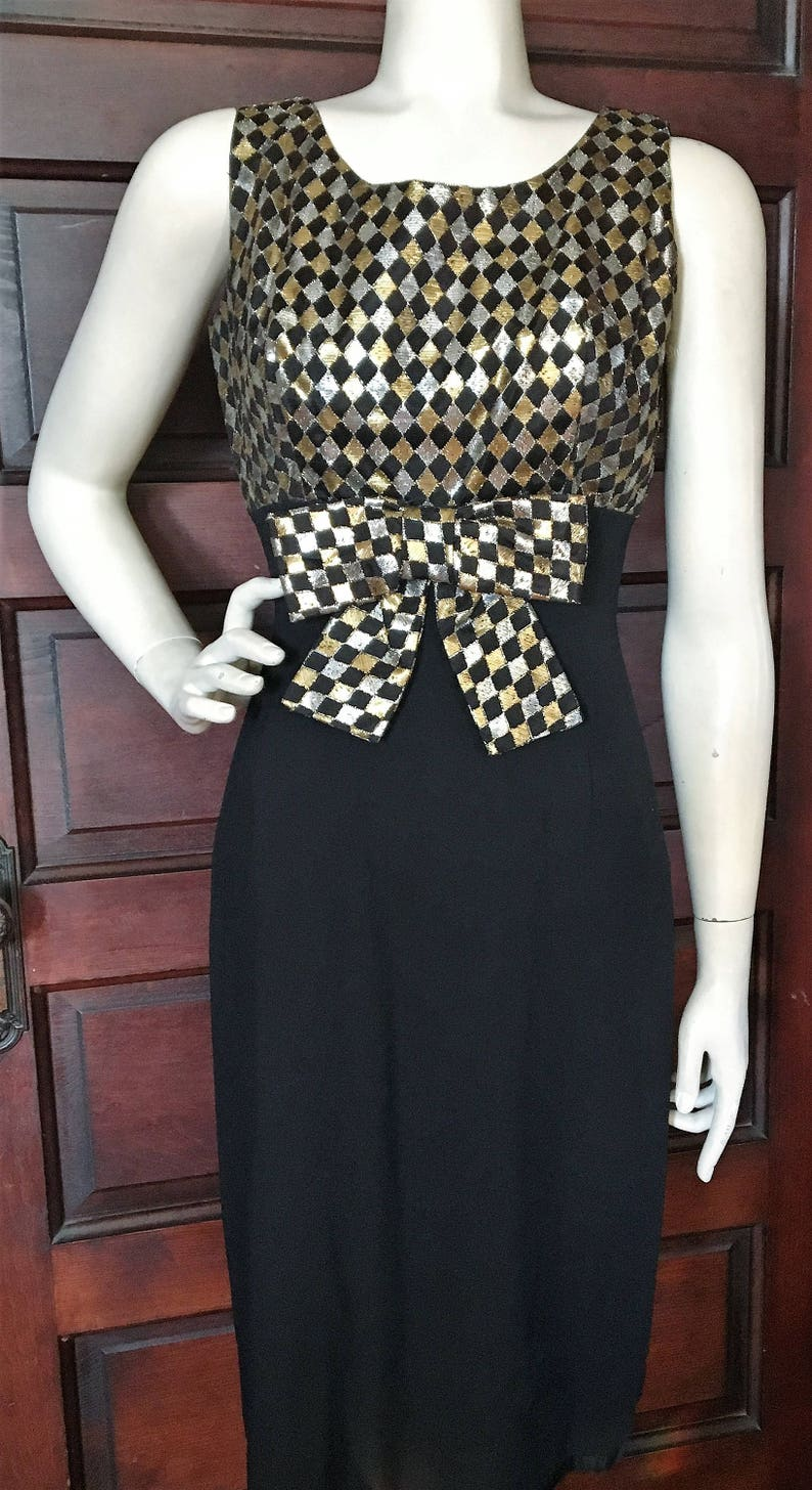 Vintage 60 s Holiday PARTY DRESS Glam Fitted Sheath  9c7aca7de7a9