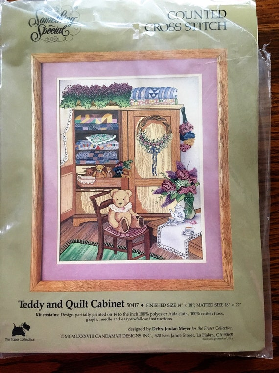 Vintage Counted Cross Stitch Kit Teddy and Quilt Cabinet Kit Candamar Design  Something Special