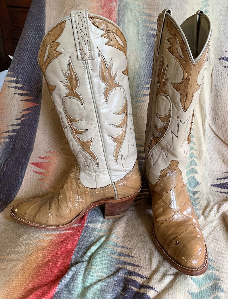 5d4ac79dfcd Vintage Dan Post ladies cowboy boots, women's leather and eel skin western  boots in tan & ivory size 6 1/2 C