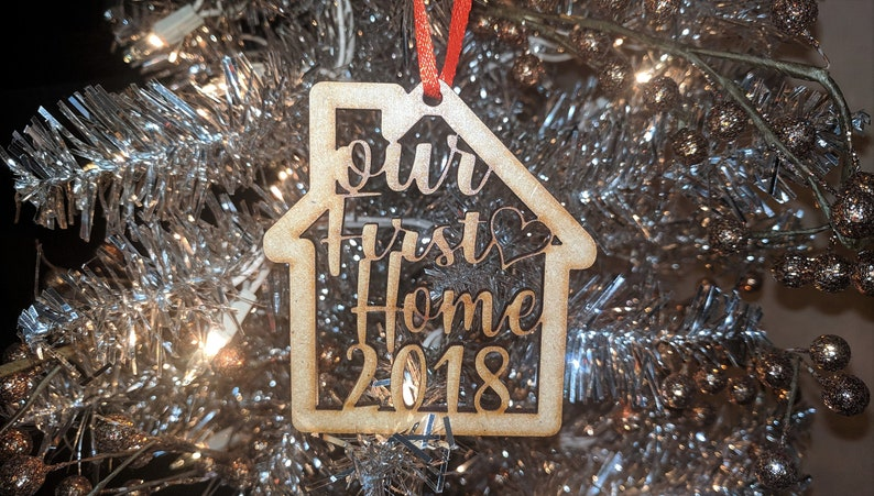 First Christmas In Our New Home 2019.First Christmas In Our New Home 2019 Custom Wood Laser Cut Ornament Unique Holiday Wedding Newlywed Gift