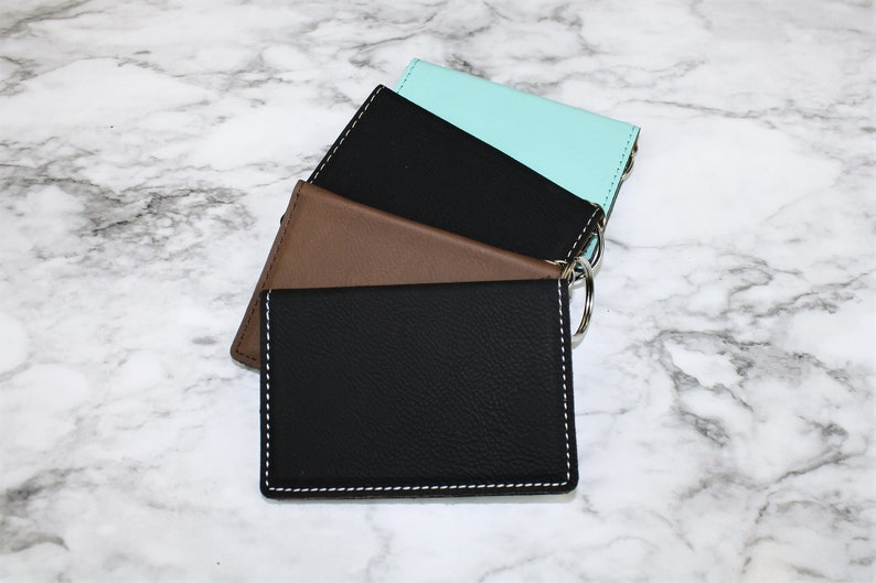 Foiled Metallic Unique Personalized Gift Monogram Initials Faux Leather Keychain Wallet ID Card Holder