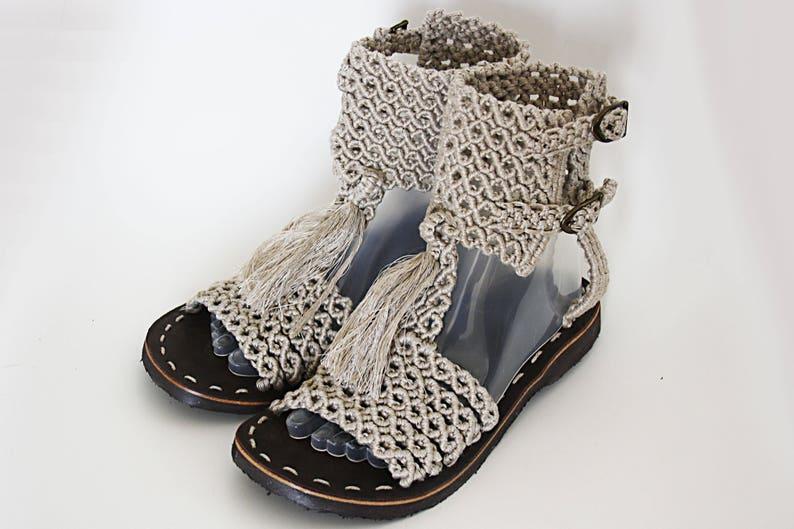 3051172ac5f Ultralight Macrame Roman sandals from 100% linen nature