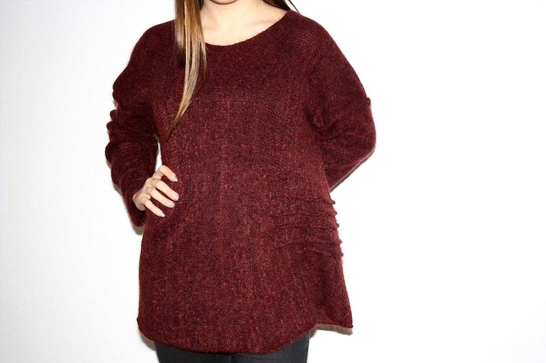 757f7d510382fe Extra langer Damen Pullover in weinrot aus Mohair long woman | Etsy