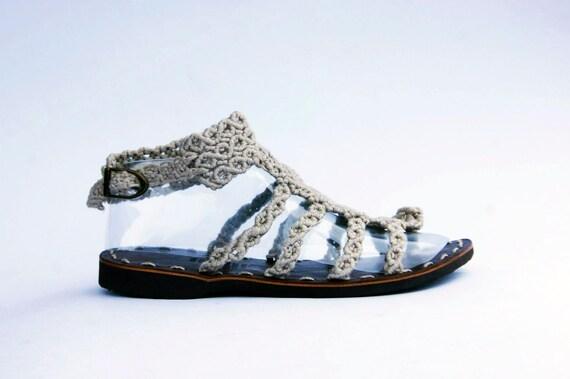 Ultralight macrame flip flop sandalo dimensione 37 (6 US) 100% filato di lino naturale, gladiatore naturale sandali di lino, scarpe wegde macrame
