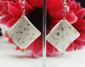 Nickel Free Square Mottled Effect or Foil Earrings Clip on, Hooks or Studs - Choose from White, Green, Pink or Purple mottle or Purple Foil
