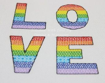 Rainbow Love Blackwork Chart - PDF, Instant Download, Printable. Pride - red, orange, yellow, green, blue, indigo, violet, bright, colourful