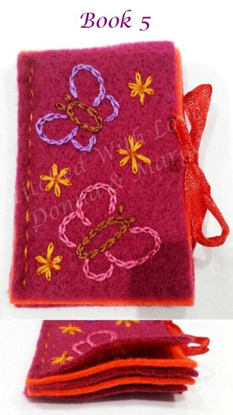 Felt Needle Book or Case With Hand Embroidered Butterflies