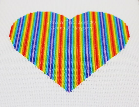 Rainbow Heart Flowing 2  Cross Stitch Chart - PDF, Instant Download, Printable. Pride - red, orange, yellow, green, blue, indigo, violet