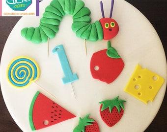 Edible Fondant Hungry Hungry Caterpillar Cake Decorations
