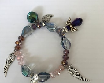 Angel , angel wings, charm bracelet
