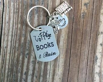 Coffee Books and Rain Keychain
