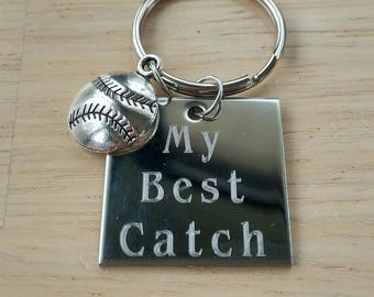 My Best Catch baseball keychain