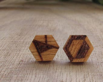 Mismatched Wood Stud Earrings | Wood Burned Jewelry | Geometric Jewelry | Pyrography | Unique Gifts|Gifts for her| Handmade Jewelry