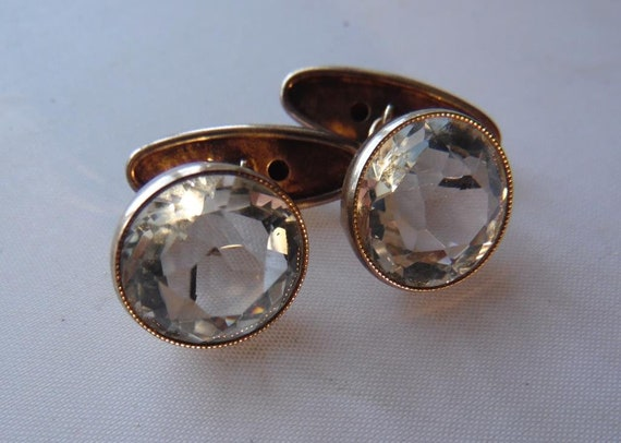 Antique RUSSIAN sterling SILVER 875 cufflinks genuine stone Turquoise 1927-1955 Part of collection