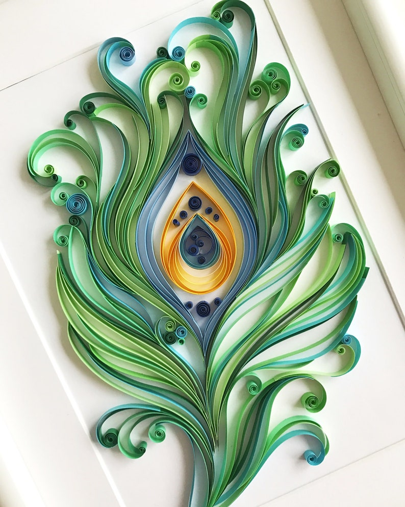Quilling Art Wall Decor , Gift for father , Quilled Peacock feather , Good  luck gift , Unique Paper Art , Gift for luck , Mens gift