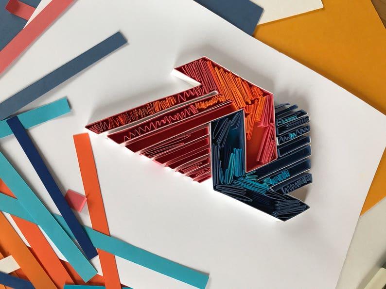 Gift for men Quilled logo Gift for Boss Quilling Logo Art Decor for office Paper Art Labels 3D Wall Decor