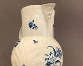 Antique 18th C Worcester Dr. Wall Face Jug Mask Pitcher Gillyflower Pattern Blue and White Porcelain Made in England
