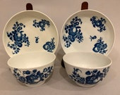 Pair Antique 18th C Worcester Dr. Wall 1st Period English Tea Bowls w Saucers Blue White Crescent Marks