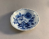 Antique 19th Century Ernst Teichert Meissen Blue Onion Pattern Butter Pat Blue White Porcelain