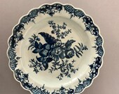 Antique Worcester 18th C Dr. Wall Pinecone Blue Floral Spray Pattern Porcelain Plate