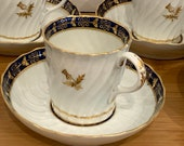 Set of 6 Antique Worcester Barr Porcelain Thistle Pattern Coffee Cans Cups Saucers circa 1790