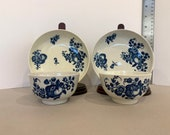 PAIR of Dr. Wall First Period Worcester Antique English 18th Century Tea Bowls and Saucers