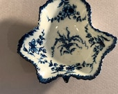 Antique 18th Century Dr Wall Worcester Pickle Dish Vine Pattern Blue White Porcelain