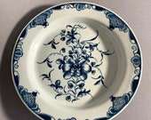 Dr. Wall First Period Worcester Mansfield Pattern Antique English 18th Century Blue White Porcelain Plate
