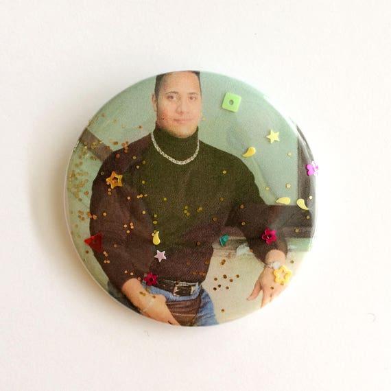 Dwayne The Rock Johnson Glitter Pin Handmade Etsy