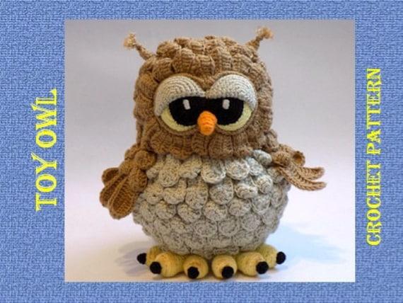 Crochet pattern Owl, pattern amigurumi toy Owl, Tutorial Crochet toy Owl,  PDF pattern