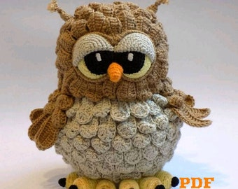 Crochet pattern Owl, pattern amigurumi toy Owl, Tutorial Crochet toy Owl, English PDF pattern
