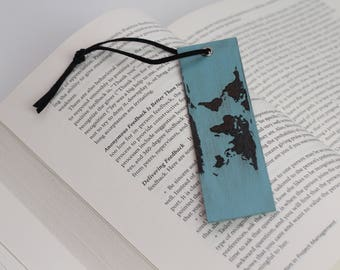 World map bookmarks etsy quick view world map wooden bookmark gumiabroncs Choice Image