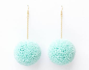 Seafoam Pom Pom Earrings