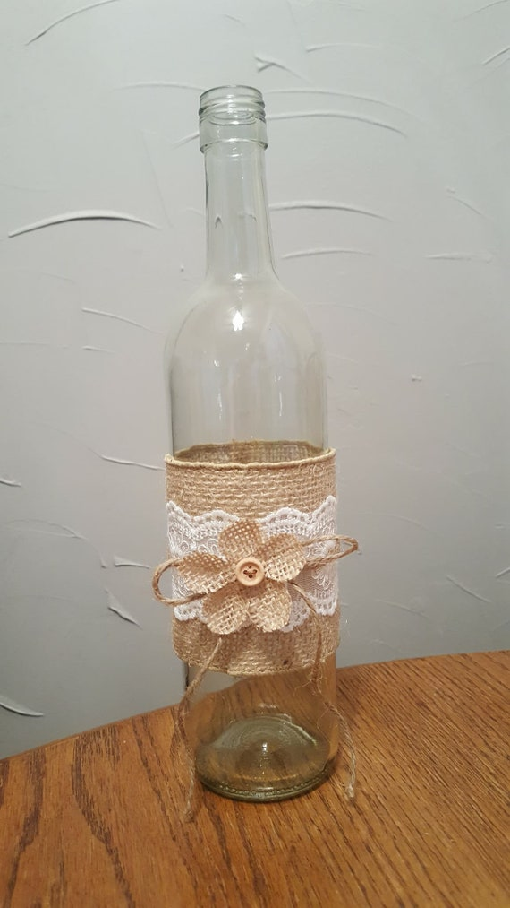 Groovy Rustic Wine Bottle With Burlap And Lace Great Centerpieces For Weddings Bridal Or Baby Showers And Graduationo Parties Interior Design Ideas Tzicisoteloinfo