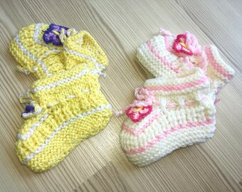Two pairs Booties Crochet Baby Shoes,Neutral Baby Slippers, Sizes 0-3 months,Knitted Ready to Ship