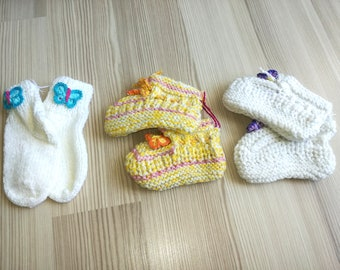 3 pairs Booties Crochet Baby Shoes,Neutral Baby Slippers, Sizes 0-3 months,Knitted Ready to Ship