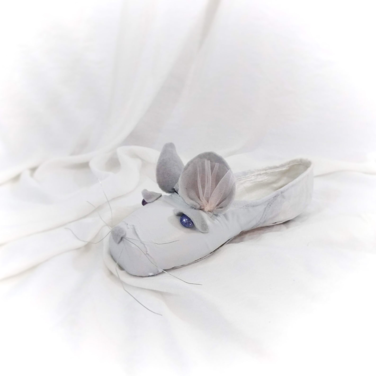 cute mouse decorated pointe shoe, mouse king nutcracker ballet shoe, upcycled nutcracker pointe shoe,