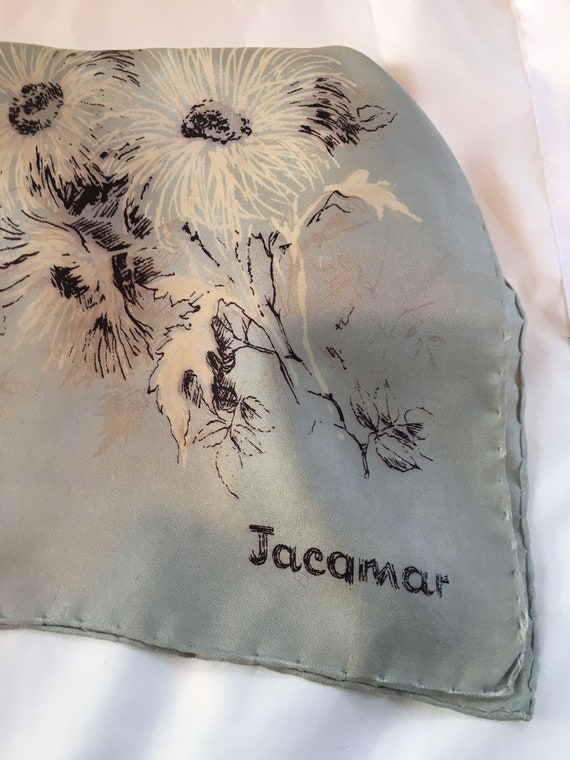 Delicate 1940s silk scarf in a floral design by J… - image 1