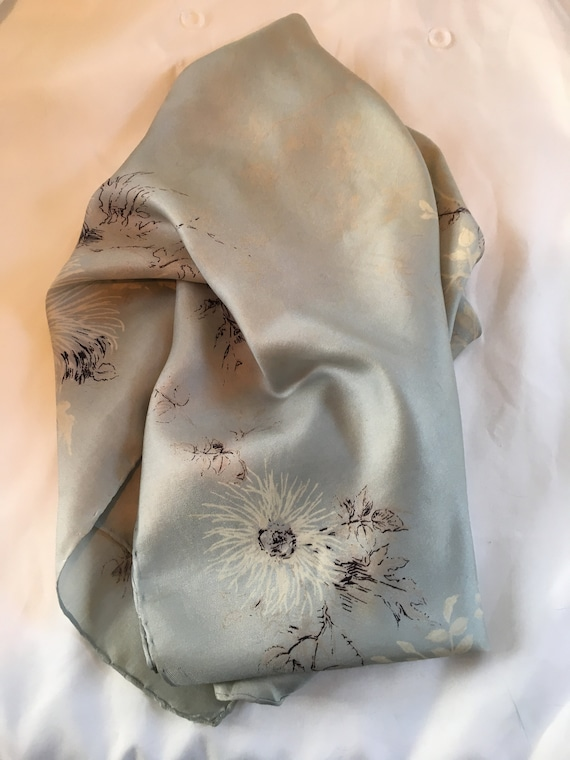 Delicate 1940s silk scarf in a floral design by J… - image 2