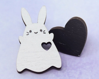 You Have My Heart Wooden Pin Set - Kawaii Cute Spooky Ghost Halloween Witchy Bunny Rabbit Usagi Lapel Wood Couples BFF Matching Friends