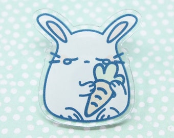 "1.3"" Crybunny Clear Acrylic Pin - Kawaii Japanese Anime Pastel Aesthetic Crybaby Anime Usagi Rabbit with a Carrot Fairy Kei Lapel Pin"