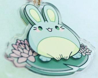 "2"" frog bunny acrylic charm keychain - kawaii cute bunny rabbit usagi anime pastel cottagecore sakura froggo animal lilypad japanese"