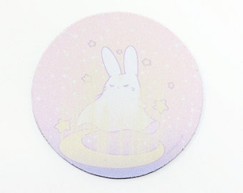 """3.5"""" Round Rubber Coaster - Kawaii Pastel Fairy Kei Witch Bunny Ghost Paranormal Spooky Goth Moon Usagi Cute Rabbit Drink Polyester Coaster"""