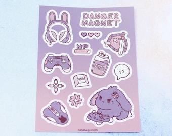 "Danger Magnet Vinyl Sticker Sheet (A7/3""x4"") - Kawaii Cute Bunny Gamer Goth Tank Energy Drink Anime Streamer Video Games Gaming Stationary"