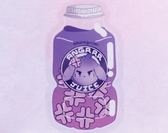 "3"" Clear Angrrr Juice Vinyl Sticker - Kawaii Cute Goth Lop Bunny Rabbit Gamer Usagi Video Game Anime Stationary Flake Streamer Laptop"