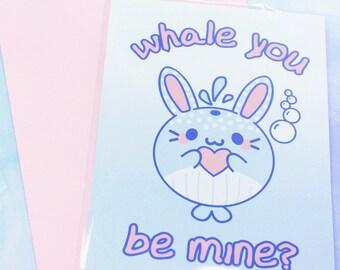 Whale You Be Mine? - Pastel A6 sized Valentine's Day Card - Kawaii Cute Fairy Kei Ocean Beach Pun Funny Whale Bunny Rabbit Fish Bubbles Card
