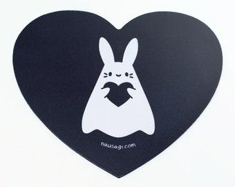 Heart Shaped Shinusagi Mouse Pad - Goth Ghost Paranormal Spooky Witch Halloween Kawaii Cute Bunny Desk Mat Anime Gift Streamer Rabbit Usagi