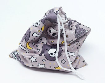 """7"""" skull and bones drawstring pouch - cute bunny anime goth witchy paranormal lop rabbit spooky halloween stars dnd tabletop rpg dice bag"""