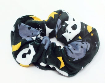JUMBO Hair Scrunchie - EXTRA LARGE Velvety Polyester Hair Accessory Spooky Skull Bones Halloween Witchy Tsundere Anime Mini Lop Bunny Rabbit